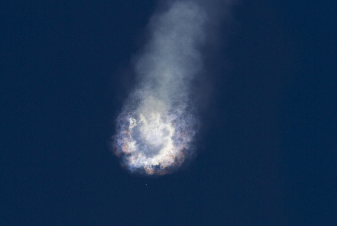 An unmanned SpaceX Falcon 9 rocket exploded two minutes after liftoff in June 2015, reflecting the difficult and dangerous nature of space exploration. Credit: Reuters/Mike Brown