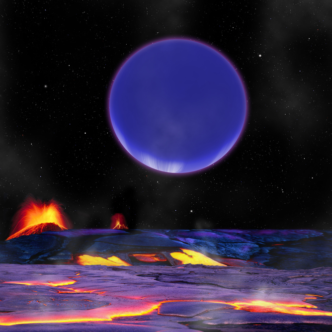 An artist's conception of what Kepler 36c might look like from the surface of Kepler 36b.