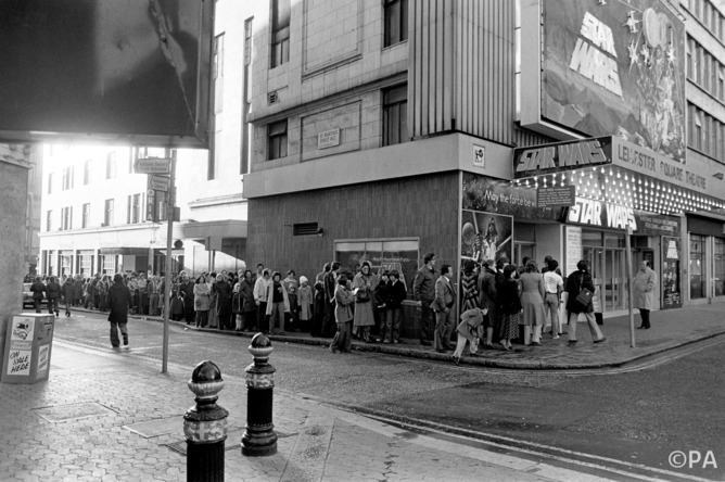 Star Wars queue in London's Leicester Square in 1977