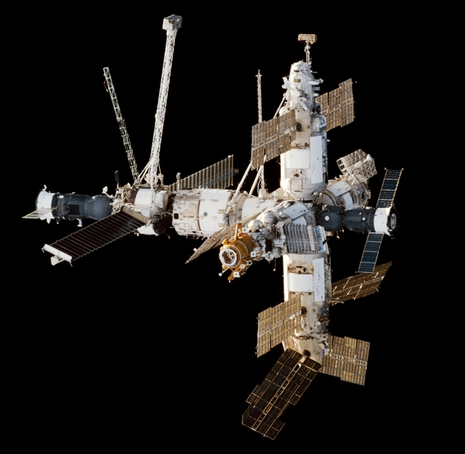 Mir space station viewed from Endeavour.Source: NASA