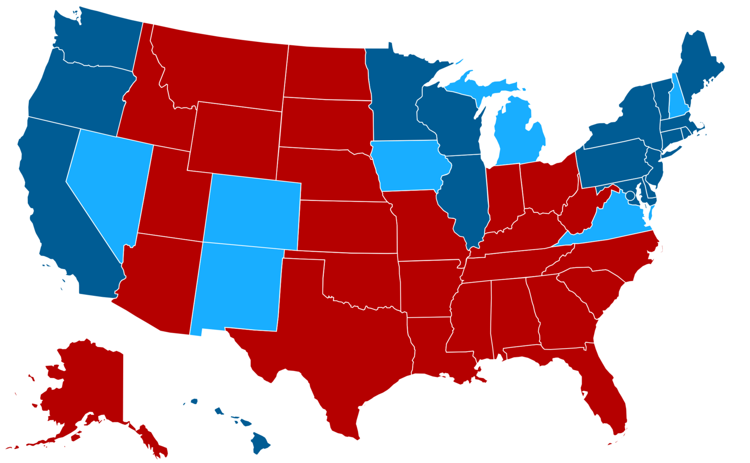Electoral map of Rubio (red) versus Clinton (dark blue) and versus ...