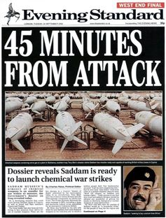 How the Evening Standard reported the threat from Iraq in 2003.