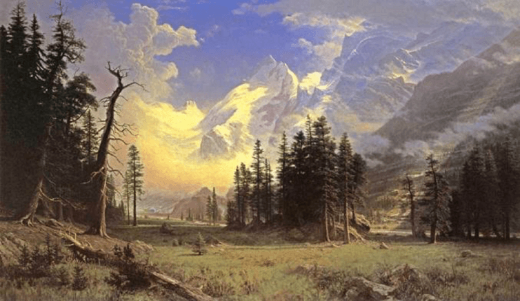'The Morteratsch Glacier, Upper Engadine Valley, Pontresina, by Albert Bierstadt, 1895. Wikiart