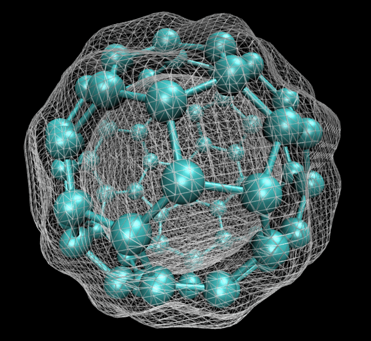 Computers can show quantum mechanical details no experiment can probe. Here modelling has been used to calculate and plot the electron density of a C60 bucky ball. Itamblyn/Wikipedia
