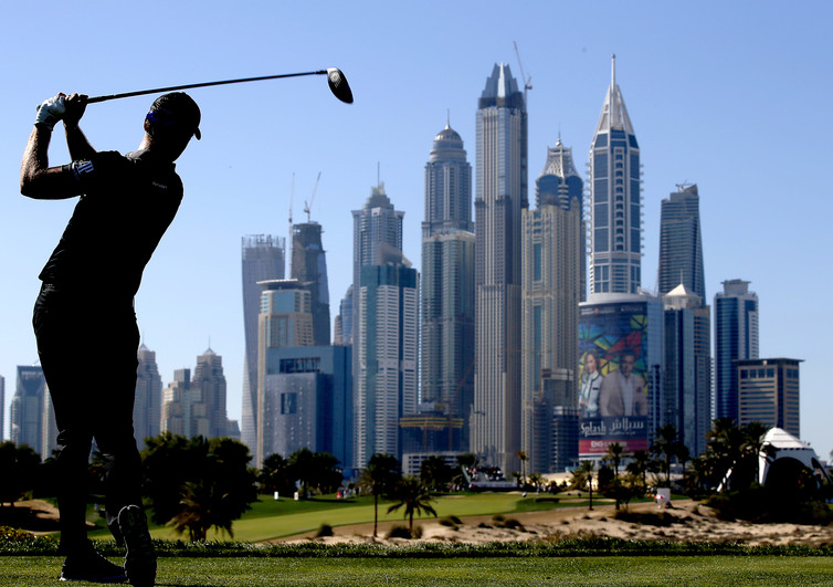 Fresh water from desalination plants already transforms Dubai's deserts into lush golf courses. Credit: Ali Haider/EPA