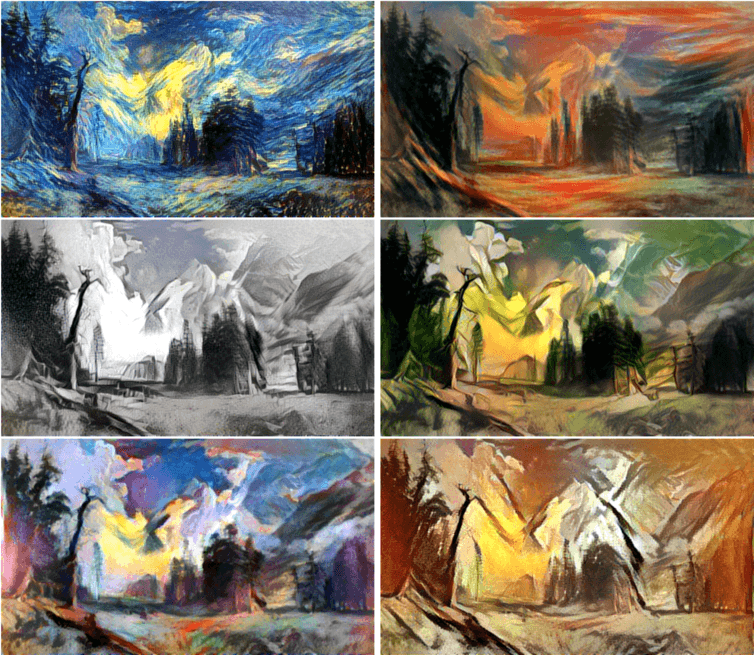 The Bierstadt painting in the styles of, clockwise from upper left, Van Gogh, Munch, Kahlo, Picasso, Matisse and Escher.Author provided