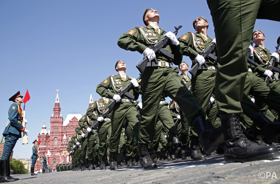Russian troops march through Moscow to mark Victory Day. PA/Alexander Zemlianichenko