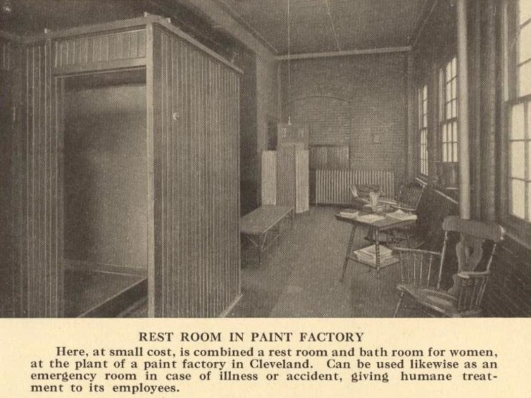 A women's-only breakroom and bathroom at a paint factory in Cleveland. Author provided