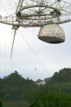 The CSIRO-built multibeam instrument being installed on the Arecibo telescope. Graeme Carrad