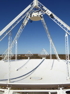 An Australian Square Kilometre Array Pathfinder (ASKAP) antenna with a phased-array feed. CSIRO