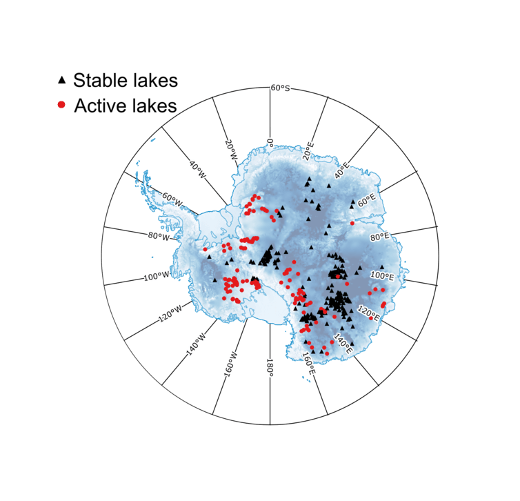 Map of sub-glacial lakes in Antarctia