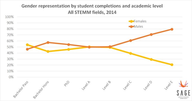 Women less represented at higher academic levels
