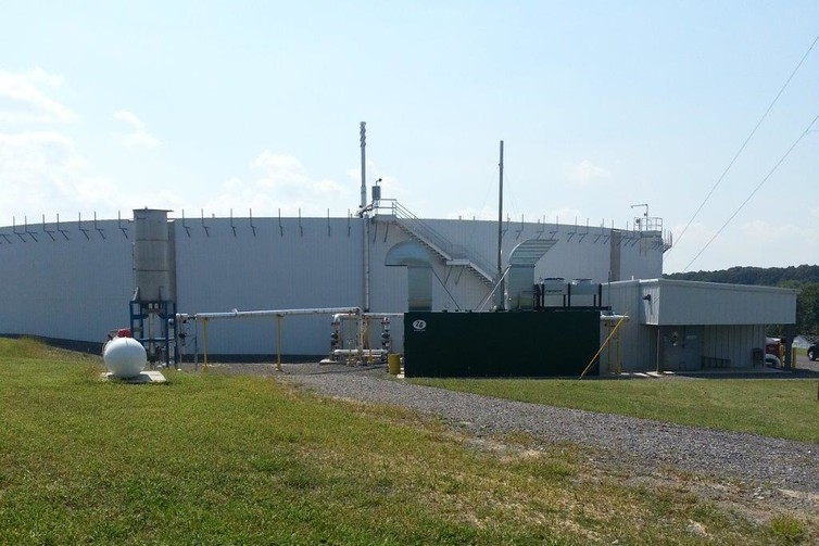 A 250kW containerised biogas turbine is part of an agricultural waste water treatment plant in Pennsylvania. Photo: ADI Systems