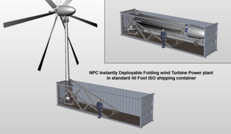 A containerised folding wind turbine, being developed under licence by Oshkosh Defense. Photo: Natural Power Concepts