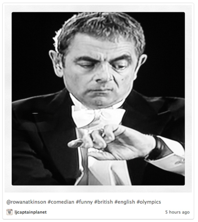 Mr. Bean B&W image used to indicate boredom during the parade of athletes | Twitter