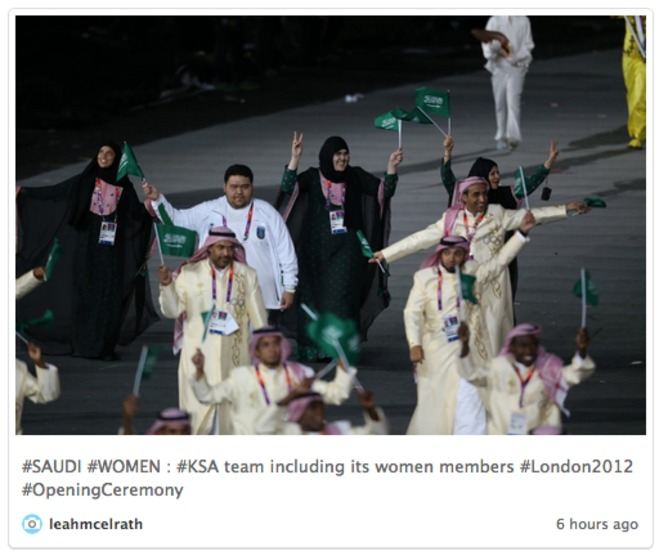The Saudi Arabian team includes several female athletes | Twitter