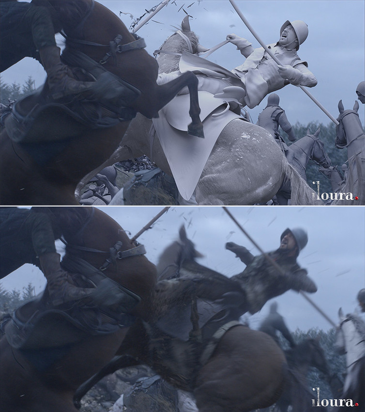 CG horse and rider are integrated with live action.</
