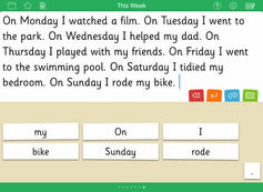Screenshot of the Clicker Sentences app on a smartphone
