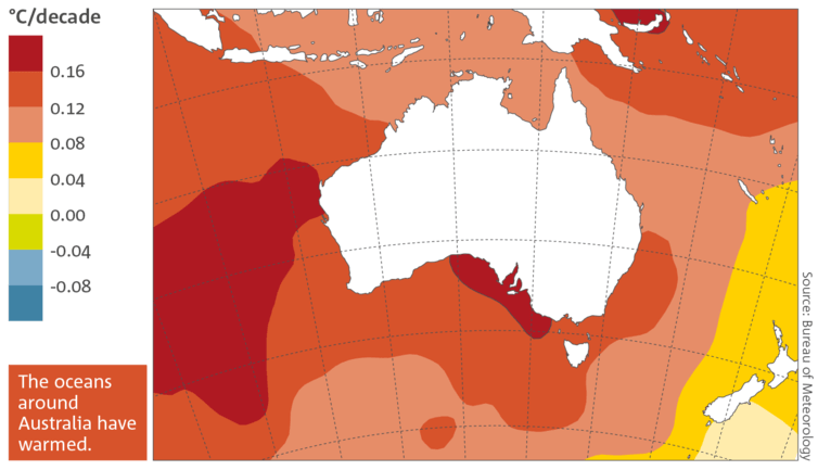Trends in sea surface temperature in the Australian region from 1950 to 2015.