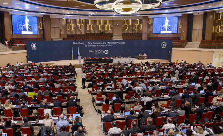 Major progress: In Kigali, Rwanda last month, climate negotiators agreed on a plan to phase out the use of HFCs, a potent greenhouse gas used in air conditioners. Credit: Associated Press.