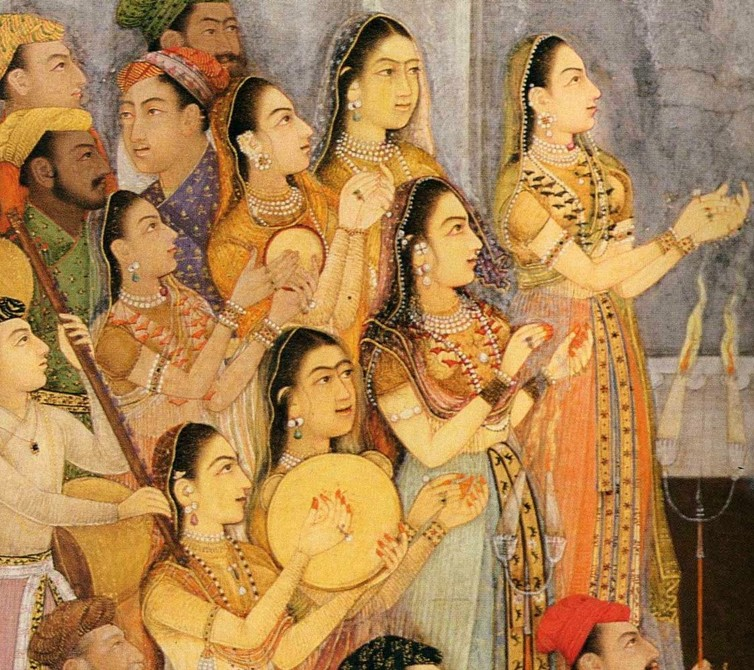 Female musicians at the wedding of Mughal emperor Aurangzeb, 1636.  CC BY-SA