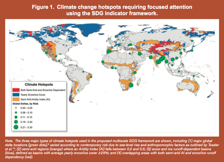 Map of climate change hot spots