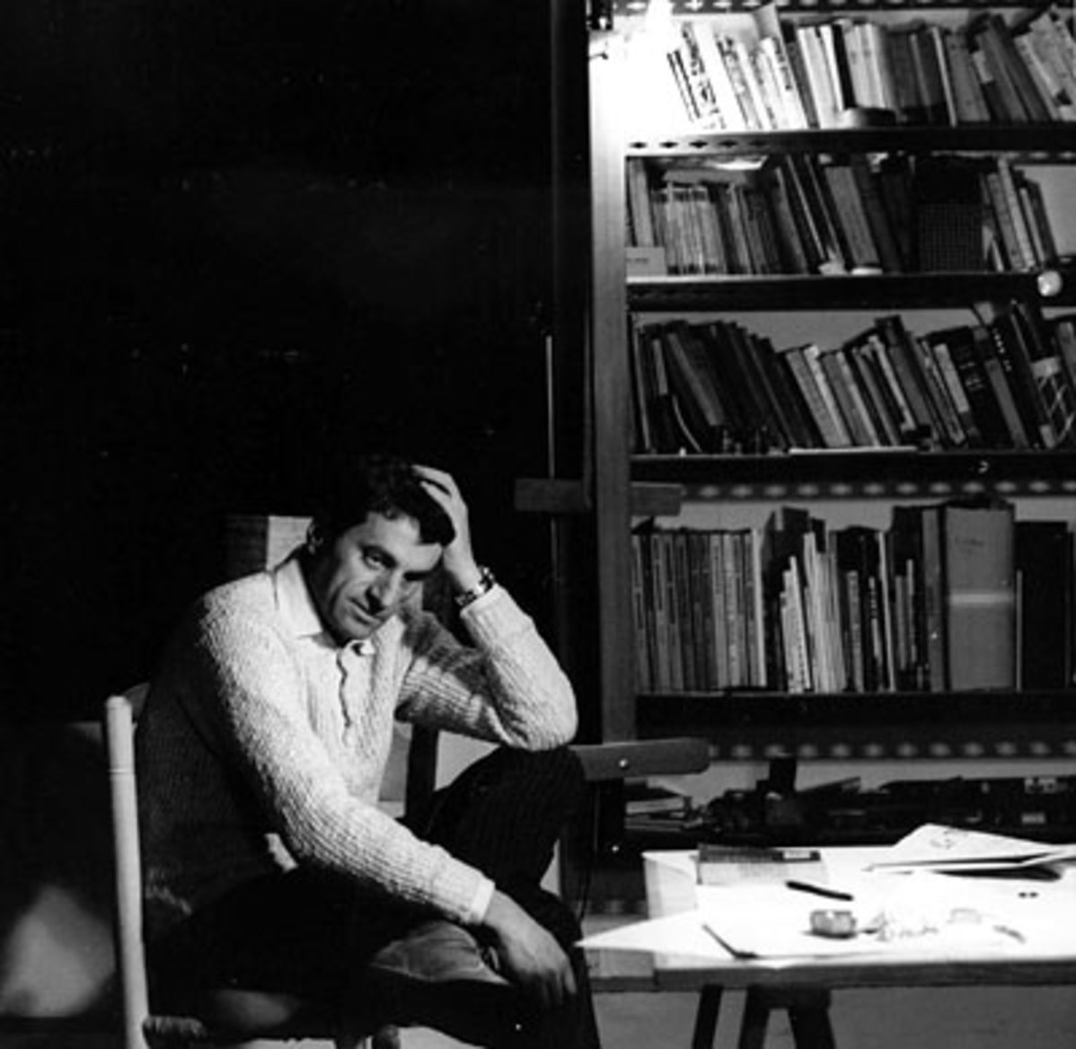 Composer Iannis Xenakis in his Paris studio in early 1960.  cea +/Flickr, CC BY