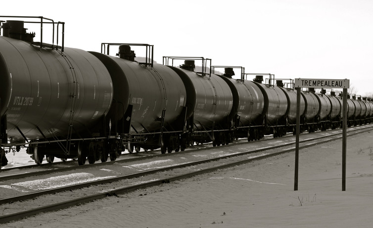 oil train cars on a track