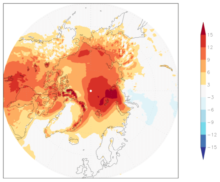 Temperatures have been far above normal over vast areas of the Arctic this November and December