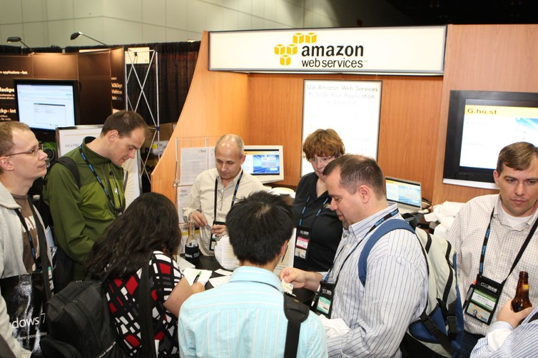 Le petit stand d'Amazon Web Services au PDC en 2008. D. Begley/Flickr, CC BY