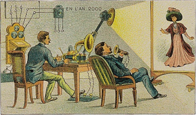 Correspondence Cinema, imagined in 1910, from a postcard set En L'an 2000 (In the Year 2000). Wikimedia Commons