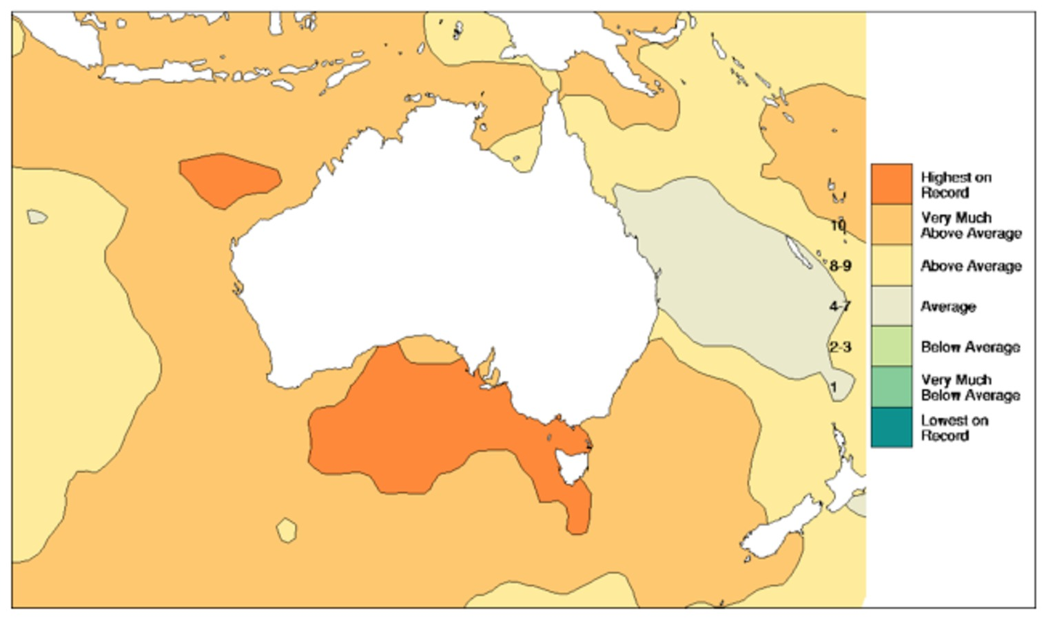 ... warm in most oceans around Australia in 2013. Bureau of Meteorology