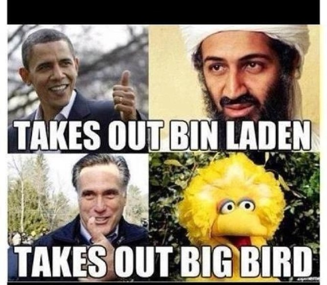 Big Bird Obama versus Romney plan meme | kikiandtea.com