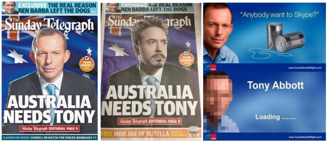 2013 Australian Commonwealth election anti-Coalition memes: Australia needs Tony Abbot / Tony Stark fake newspaper front page; Lampooning the Coalition's NBN policy. | Google Images