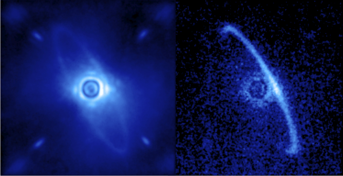 Gemini Planet Imager's first images of the light scattered by a disk of dust orbiting the young star HR4796A. Processing by Marshall Perrin, Space Telescope Science Institute, CC BY