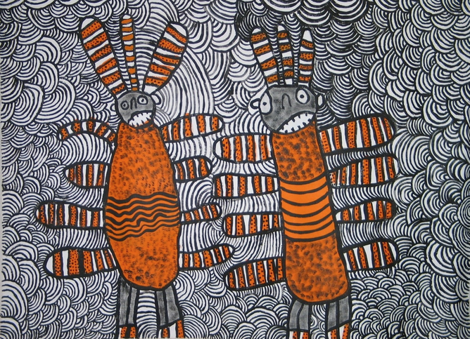 Nura Rupert, Australia, c.1933. Pitjantjatjara people, South Australia, Mamu (Spooky spirits) 2006, Ernabella, South Australia, synthetic polymer paint on linen 92x122cm. Ed and Sue Tweddell Fund for South Australian Contemporary Art 2006. Art Gallery of South Australia, Adelaide © Nura Rupert, courtesy of Ernabella Arts