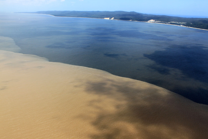 Floodwater plumes, like this one in Moreton Bay, do less damage to reefs that are in marine reserves. Photo: Healthy Waterways
