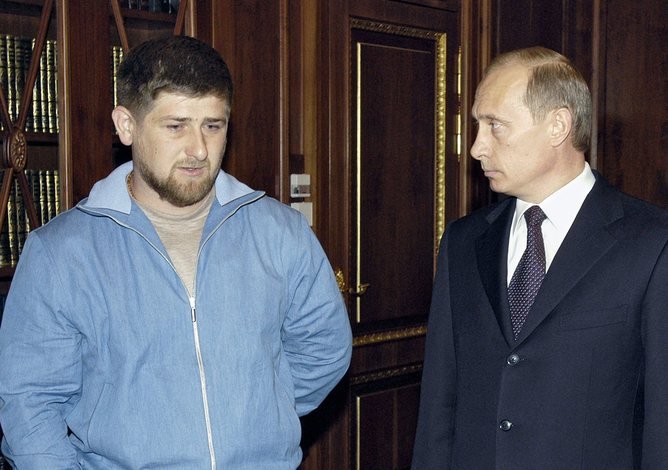 Putin and Kadyrov pictured in 2004. EPA