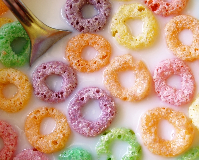 Caption:A mixed bowl. Fruity cereal via Tootles/www.shutterstock.com