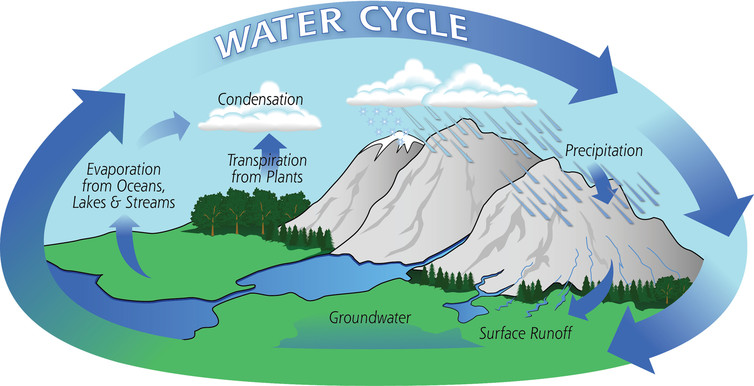 Water cycle from atmosphere to land and ocean precipitation transpiration