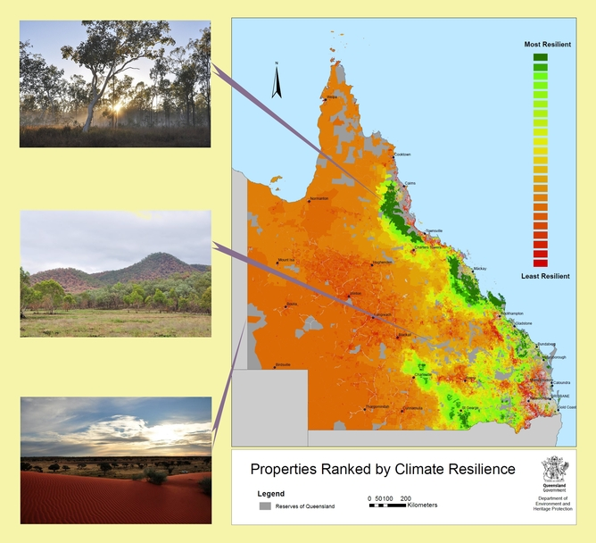 JCU data was used to rank Queensland properties by their predicted retention of suitable climate for wildlife.