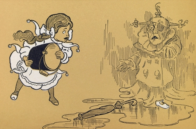 In W.W. Denslow's illustrations and L. Frank Baum's original text, Dorothy is a much younger girl (with silver shoes instead of ruby slippers). Wikimedia